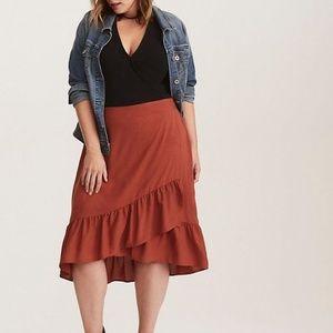 Torrid Ruffled Silky Challis Wrap Skirt 2